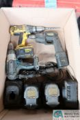 (LOT) CORDLESS DRILLS, CHARGERS AND BATTERIES