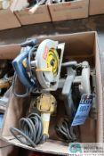(LOT) (2) ELECTRIC CIRCULAR SAWS, (1) PORTABLE BAND SAW