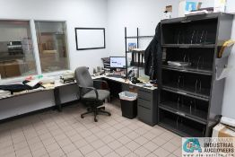 CONTENTS OF OFFICE INCLUDING (2) L-SHAPED DESKS, (2) CABINETS **OFFICE FURNITURE ONLY - NO