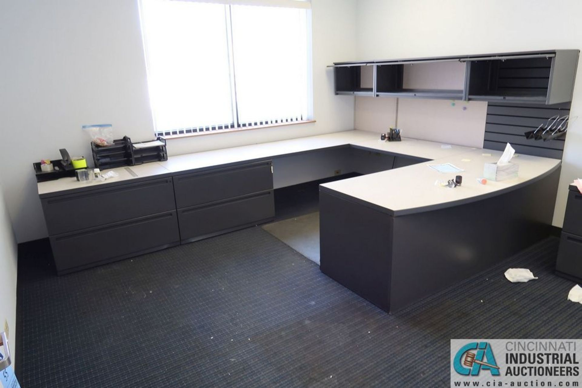 CONTENTS OF OFFICE INCLUDING U-SHAPED DESK, TABLE AND CABINET **OFFICE FURNITURE ONLY - NO