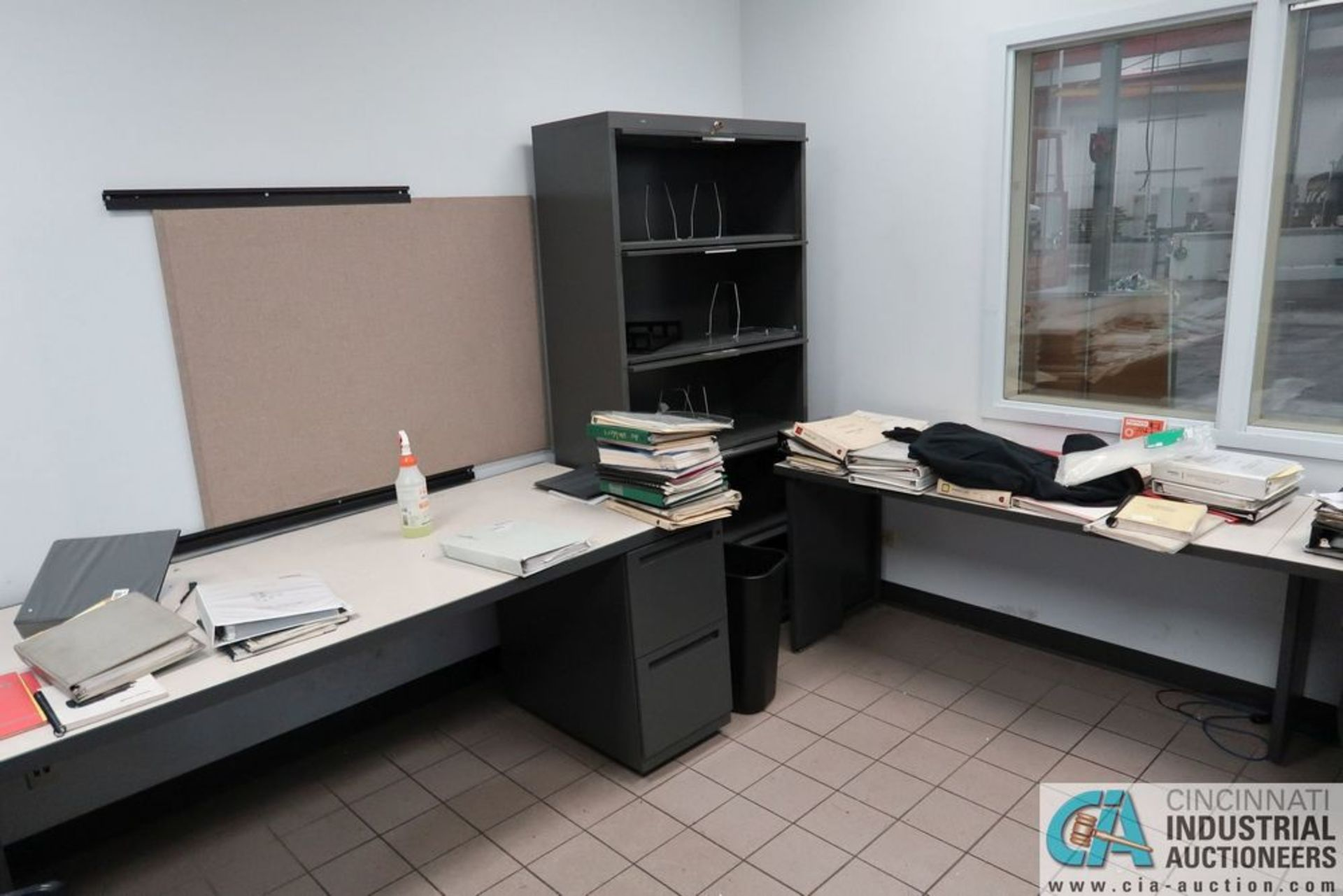 CONTENTS OF OFFICE INCLUDING (2) L-SHAPED DESKS, (2) CABINETS **OFFICE FURNITURE ONLY - NO - Image 2 of 3