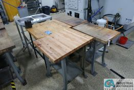 """(LOT) 30"""" X 28"""" MAPLE TOP BENCH WITH TOOLHOLDER CLAMP AND PORTABLE 2-BOWL STAINLESS STEEL SINK"""