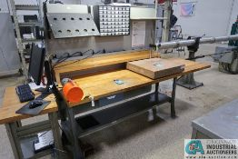 "98"" X 30"" LIGHTED MAPLE TOP BENCH WITH 1/12 HP MOTORIZED DRILL **TIME CLOCK NOT INCLUDED**"