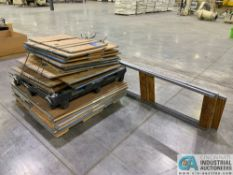(LOT) WOOD & STEEL FRAME STORAGE UPRIGHTS W/ HANGERS & SKID OF SHELF UNITS