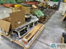 (LOT) SKIDS OF MACHINE PARTS; WAY COVERS, FIXTURES, BARS, FANS