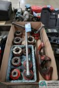(LOT) RIDGID HAND OPERATED PIPE THREADER SET WITH (10) DIES, PIPE CUTTER, REAMER
