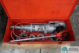 RIDGID MODEL 900 HAND HELD ELECTRIC PIPE THREADER WITH DIES, MANUAL HANDLE AND STORAGE BOX