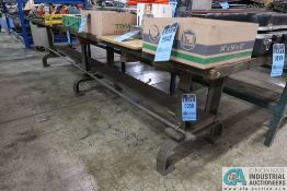 """34"""" X 144"""" HD WOOD TOP BENCH WITH ANTIQUE LEGS"""