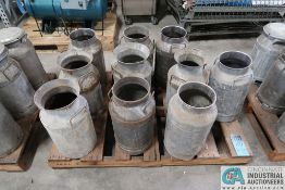 FIVE GALLON STAINLESS STEEL MILK CANS