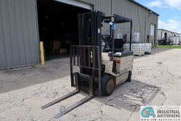 """5,000 LB. CROWN MODEL 50FCTT-188 SOLID TIRE ELECTRIC LIFT TRUCK; S/N 1A1532950, 3-STAGE MAST, 82"""""""