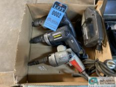 (LOT) (2) BLACK AND DECKER ELECTRIC DRILLS, BLACK AND DECKER JIG SAW AND ELECTRIC SCREW GUN