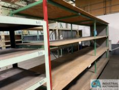 """38"""" WIDE X 16' LONG X 84"""" HIGH STORAGE RACK WITH PLYWOOD DECKING AND GREY SHELF UNIT THAT IS"""