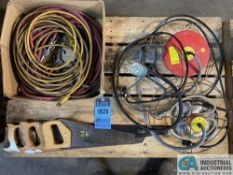 (LOT) ELECTRIC CORDS, HAND SAWS, TANK AND HEATERS
