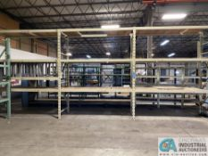 """SECTIONS 36"""" X 96"""" X 10' PALLET RACK WITH WOOD DECKING, (4) UPRIGHTS, AND (20) BEAMS"""