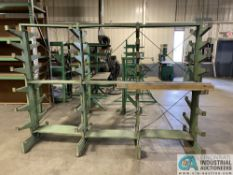 """SECTION OF 12"""" ARM DOUBLE SIDED CANTILEVER RACK, 110"""" OVERALL WIDTH, AND 80"""" TALL, (7) SETS OF"""