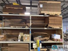 (LOT) CONTENTS OF 4-SECTIONS PALLET RACK - ASSORTED CORRUGATED BOXES AND OTHER SHIPPING SUPPLIES