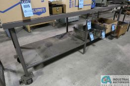 """29"""" X 96"""" X 37"""" HIGH WELDED STEEL PORTABLE BENCH **DELAYED REMOVAL - PICKUP 6-10-21**"""