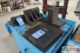 """12"""" X 12"""" X 3"""" THICK BLACK GRANITE SURFACE PLATE WITH MISCELLANEOUS ANGLE PLATES"""