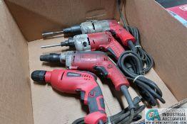 "(3) MILWAUKEE ELECTRIC PISTOL GRIP SCREW GUNS & (1) 3/8"" TOOL SHOP ELECTRIC KEYLESS DRILL"
