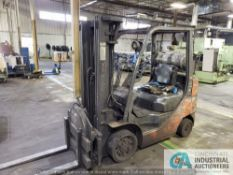 ****5,000 LB. TOYOTA MODEL 8FGCU25 SOLID TIRE LP LIFT TRUCK W/ ROTATING ATTACHMENT; S/N N/A, 3-STAGE
