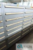 8-DRAWER LISTA CABINET WITH CONTENTS INCLUDING MISCELLANEOUS FIXED CAPPER PARTS, END PLATES, BEARING