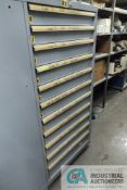 11-DRAWER LISTA CABINET WITH CONTENTS INCLUDING MISCELLANEOUS AIR CYLINDERS, VALVES, SWITCHES,
