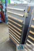 (LOT) 11-DRAWER LISTA CABINET WITH CONTENTS INCLUDING MISCELLANEOUS O-RINGS, RETAINING RINGS, E-