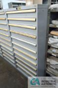 11-DRAWER LISTA CABINET WITH CONTENTS INCLUDING MISCELLANEOUS BURNER PARTS, PULLEYS, SHAFTS,