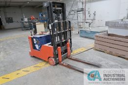 2,000 LB. TOYOTA MODEL 6BWC10 24 VOLT TWO-STAGE WALK BEHIND LIFT TRUCK; S/N 6BWC10-20073