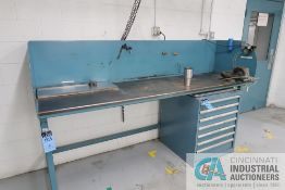 """29"""" X 98"""" X 38"""" HIGH HEAVY DUTY WELDED FRAME STEEL TOP WORKBENCH WITH (3) WILTON BENCH VISES"""