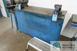 """****23-1/2"""" X 57-1/2"""" X 36"""" HIGH HEAVY DUTY STEEL TABLE WITH 5"""" RECORD BENCH VISE **DELAY"""