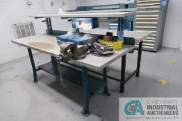 """30"""" X 84"""" X 34"""" HIGH METAL FRAME LAMINATED TOP WORKBENCH WITH 12"""" WIDE UPPER SHELVES AND (1)"""