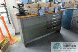 """****24"""" X 60"""" X 34"""" HIGH KENNEDY SINGLE DOOR / FIVE DRAWER MAPLE TOP WORK BENCH WITH 4"""" REED MOUNTED"""