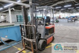 5,000 LB. (APPROX.) TOYOTA MODEL UNKNOWN 36 VOLT THREE-STAGE CUSHION TIRE LIFT TRUCK;