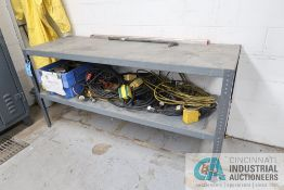 (LOT) MISCELLANEOUS ELECTRIC CORDS, HOSE, ELECTRICAL TERMINALS WITH BENCH AND CART