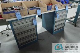 """****FIVE DRAWER LISTA TYPE COUNTER HEIGHT CABINETS WITH 30"""" X 72"""" X 1-1/2"""" THICK WOOD LAMINATED"""