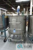 275 GALLON PORTABLE STAINLESS STEEL MIXING TANK WITH 1 HP EASTERN MIXERS MODEL RG-3 AGITATOR, TANK