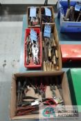 (LOT) LARGE ASSORTMENT OF SIDE CUTTERS, PLIERS, VISE GRIPS, FILES, SNAP RING PLIERS AND CHISELS