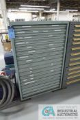 EIGHTEEN DRAWER VIDMAR STYLE CABINET AND CONTENTS LOADED WITH RESISTORS, CAPACITORS, COILS,