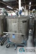 300 GALLON PORTABLE STAINLESS STEEL MIXING TANK WITH . 5 HP EASTERN MIXERS MODEL RG-3 AGITATOR, TANK