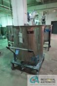 300 GALLON PORTABLE STAINLESS STEEL MIXING TANK WITH 3/4 HP LIGHTNING MODEL P75 AGITATOR, TANK NO.