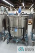 250 GALLON PORTABLE STAINLESS STEEL MIXING TANK WITH 1 HP EASTERN MIXERS MODEL RG-3 AGITATOR, TANK