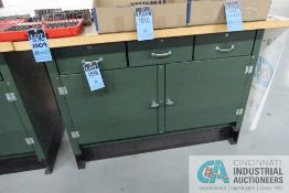 """****30"""" X 60"""" X 40"""" HIGH POLLARD TWO DOOR / THREE DRAWER MAPLE TOP WORK BENCH **DELAY REMOVAL -"""