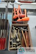 (LOT) MISCELLANEOUS BALL PEEN AND BRASS HEAD HAMMERS WITH (1) BOX DEAD BLOW HAMMERS