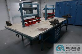 """32"""" X 120"""" X 35"""" HIGH WELDED STEEL FRAME LAMINATED TOP WORKBENCHES WITH (2) WILTON BENCH VISE PER"""