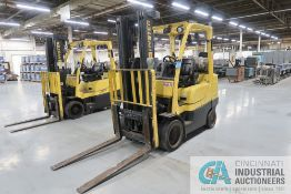 2017 - 7,000 LB. CAPACITY HYSTER MODEL S70FT LP GAS THREE-STAGE CUSHION TIRE LIFT TRUCK