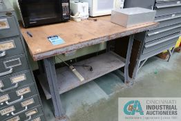 """48"""" X 32"""" WOOD BENCH WITH (2) MICROWAVE OVENS AND TOASTER"""