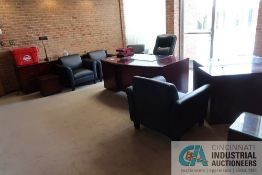 (LOT) EXECUTIVE OFFICE INCLUDING DESK, CREDENZA, (2) TABLES, (5) LEATHER CHAIRS, (2) LAMPS