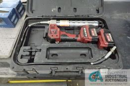 18 VOLT ALEMITE CORDLESS GREASE GUN WITH CHARGER AND TUBS OF TOOLS
