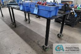 48'' X 96'' X 40.5'' HIGH WELDED STEEL FRAME PORTABLE STEEL TOP BENCH WITH 4'' REED BENCH VISE *